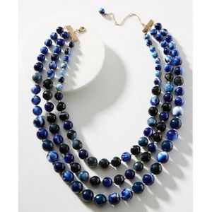 Anthropologie Layered Necklace Midnight Blue